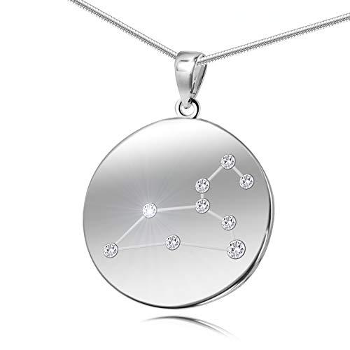 LillyMarie Damen Hals-Kette Echt Silber Swarovski Elements Sternzeichen-Anhänger Löwe Längen-verstellbar Schmucketui Geschenk zum Muttertag
