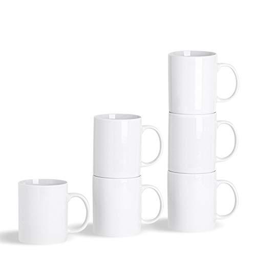 Argon Tableware Weiße Tee Tassen Kaffee Becher - 285 ml - 12er Set