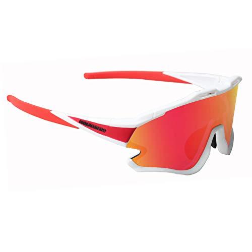 GIEADUN Occhiali Ciclismo Polarizzati con 3 Lenti Intercambiabili Occhiali Bici Antivento e Antiappannamento Occhiali Sportivi da Sole Anti UV da Uomo Donna per Corsa, MTB e Running(bianca)