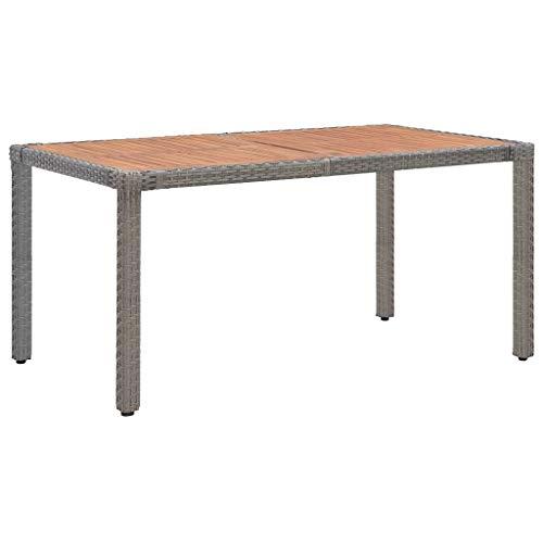 vidaXL Solid Acacia Wood Garden Table Outdoor Furniture Wooden Dining Dinner Table Patio Side Tea Coffee Desk Grey 150cm Poly Rattan