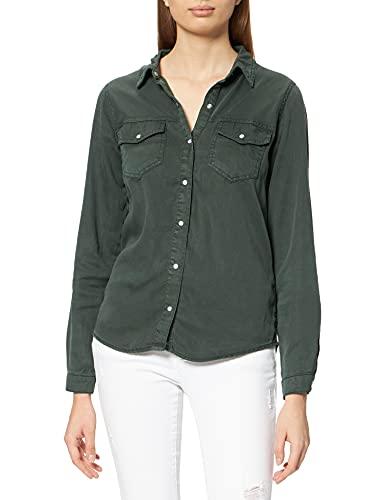 Vila Clothes Vibista Denim Shirt/Su-Noos Camisa, Verde Oscuro, M para Mujer