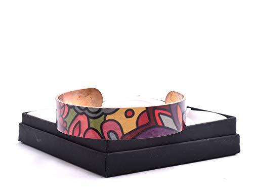 Pulsera de cobre hecha a mano con diseño floral atrevido, no magnética.