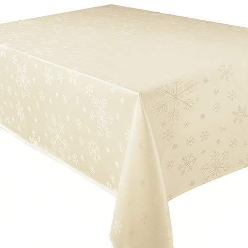 Blizzard, tovaglia natalizia., 100%_poliestere/poliestere, Cream, 132 x 178 cm, tovaglia