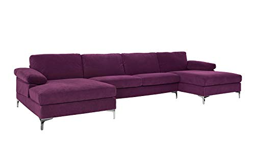Casa AndreaMilano Modern Large Velvet Fabric U-Shape Sectional Sofa, Double Extra Wide Chaise Lounge Couch, Eggplant