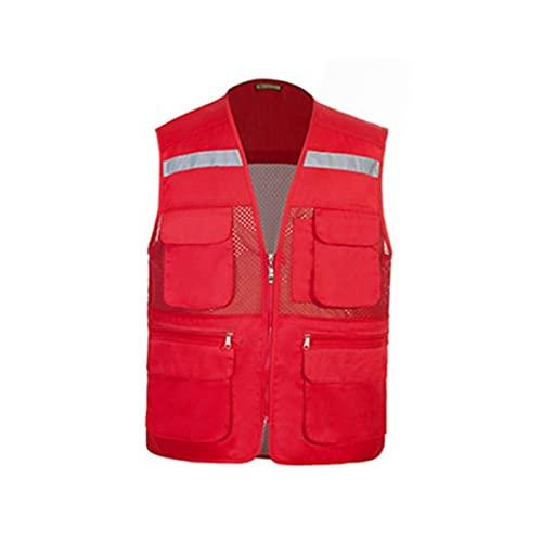 Gilet di sicurezza riflettente ad alta visibilità Abbigliamento riflettente della giacca di sicurezza, giacca del gilet per il cappotto senza maniche maschile all'aperto, multi-tasca giubbotti di sicu