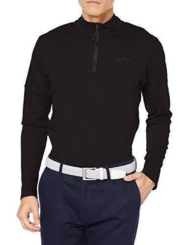 [キャロウェイ] [メンズ] 長袖 ハーフジップ シャツ (吸湿発熱性) / 241-0233508 / ゴルフ ウェア 010_ブラック 日本 LL (日本サイズ2L相当)