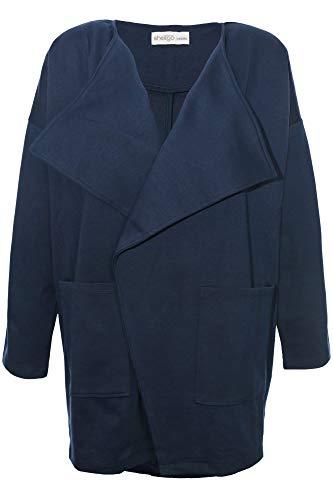 Sheego Jerseyjacke Sweatjacke Wickeljacke Cardigan Damen Plusgröße Lagenlook, Farbe:Marine (Navy), Damengrößen:52