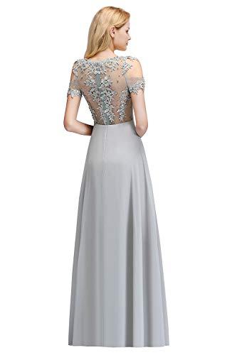 MisShow Damen elegant Schulterfrei Abendkleider elegant für Hochzeit Brautjungfernkleider Ballkleider Abikleider Maxilang Silber 42