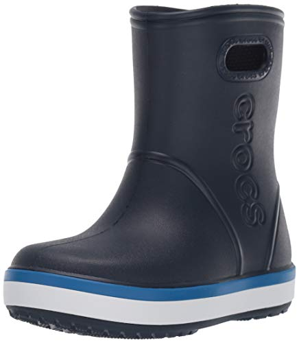 Crocs Kids' Crocband Rain Boot | Waterproof Slip On Shoes | Kids' Rain Boots, Navy/Bright Cobalt, J2 US Little Kid
