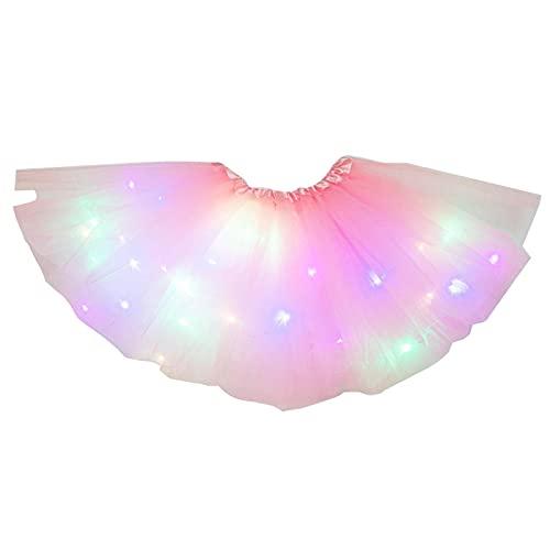 AUTUUCKEE Falda tutú para niñas con lentejuelas, con luz LED, color neón, luminoso, para fiesta, baile, vestido de princesa, ballet para niños de 3 a 8 años, regalo de cumpleaños para niña (rosa)