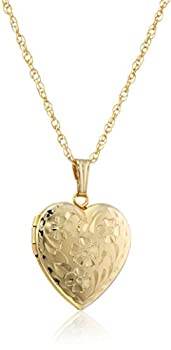 14k Yellow Gold-Filled Engraved Flowers Heart Locket 18