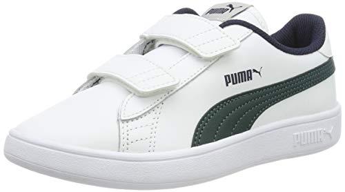 Puma Smash v2 L V PS, Scarpe da Ginnastica Basse Unisex-Bambini, Bianco White-Ponderosa Pine-Peacoat, 30 EU
