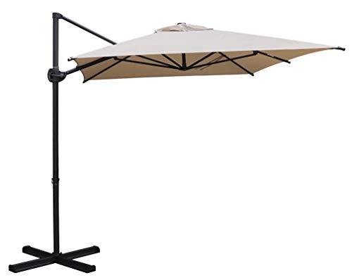 SORARA Roma Basic Ampelschirm Sonnenschirm | Sand | 270 x 210 cm | Rechteckig Sonnenschutz Gartenschirm