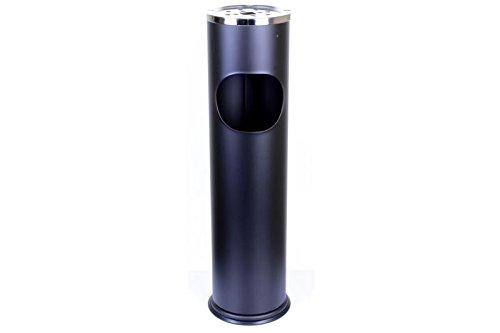 METLEX, freistehende Aschenbecher mit Mülleimer (Black Chrome Steel) MX9158