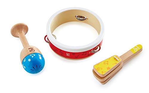 Hape Junior Percussion Set   3 Piece Wooden Percussion Instrument Set for Toddlers, E0615
