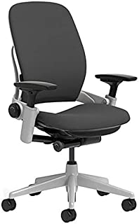Steelcase Leap Chair with Platinum Base & Hard Floor Caster, Black (Renewed)