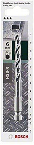 Bosch Home and Garden 2609255143 Hex Shank Metal Drill bit, 6 mm Diameter