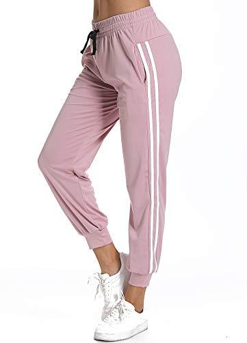 STARBILD Pantalones Deportivos Casual Transpoirable para Mujer con Cintura Elástico Cordón y Bolsillos para Deportes Caseros Fitness Jogger Gym Rosa XL