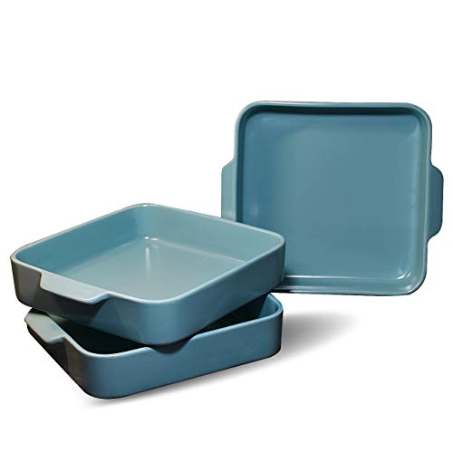 Deahezen Square Bakeware Cookware Sets Microwave Oven Safe Bake Ware Tray Pans Ceramic Baking Dishes About 8''×8'' Set of 3 (Blue, DHZ-BK-3)