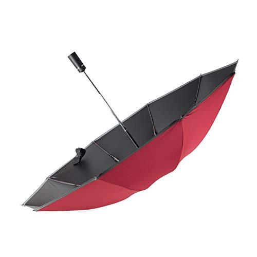 Paraguas totalmente automático, 10 huesos de tres pliegues, paraguas inverso reforzado, protección contra el viento y los rayos UV.