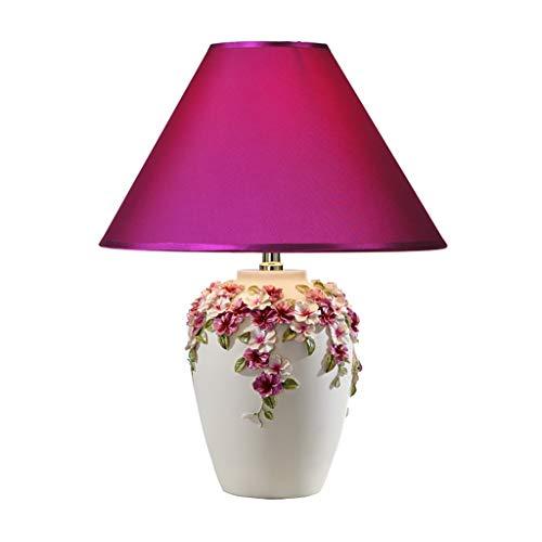 Lámparas de Escritorio Lámpara de mesa LED de resina de grabado de estilo europeo Botón romántico/Dimmer Switch Sala de estar Dormitorio Lámpara de noche Lámpara de Mesa (Color : White)