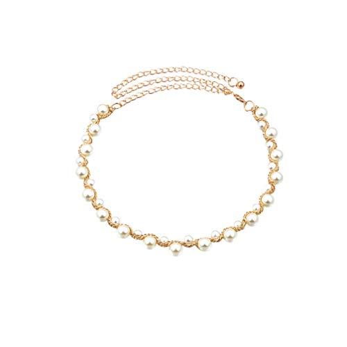 Fenical Perlen Taille Kette charmante Perlenkette Hochzeit Gürtel Perlengürtel für Festivals Urlaub Hochzeit