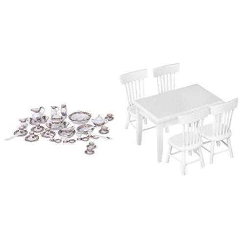Baoblaze Set de Escala 1/12 Miniaturas 40pcs Vajilla dePorcelana y 5pcs Muebles de Comedor de Casa de Muñeca