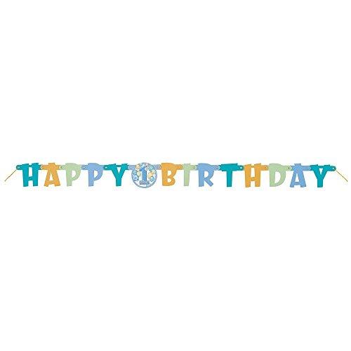 Banner met blauwe ballonnen voor de 1e verjaardag, 1,2 m