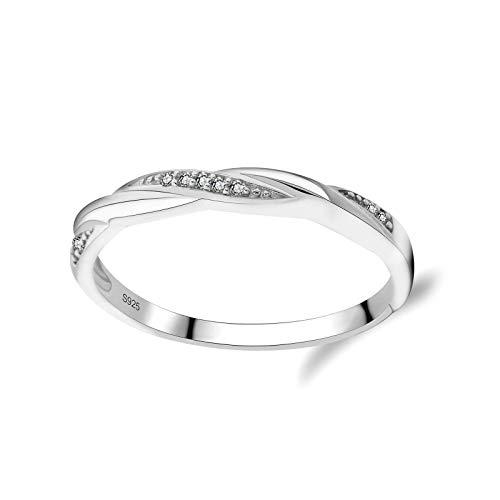 litulituhallo Mujeres plata esterlina plata blanco Zircon para mujeres niñas boda