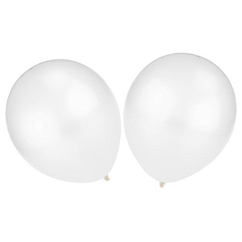 NUOLUX 100 piezas de 12 pulgadas Color brillante metálico globos de látex (blanco)