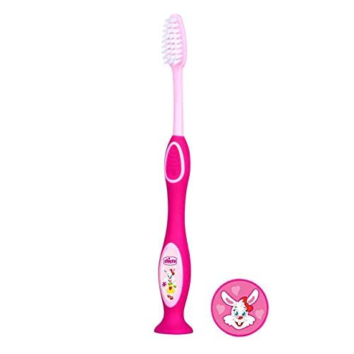 Chicco - Cepillo dental con cerdas extra finas para niños de 3 - 6 años, color rosa