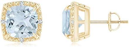 Claw-Set Cushion Aquamarine Beaded Halo Stud Aquam Earrings National products 7mm 5 ☆ very popular