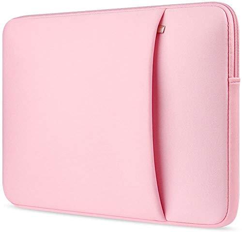 ivencase 15.6 Pollici Neoprene Custodia Borsa con Tasche Laterali,Involucro Sleeve Case per Laptop Notebook Tablet Custodia Borsa Compatible la Maggior Parte dei Laptop da 15.6 -Rosa