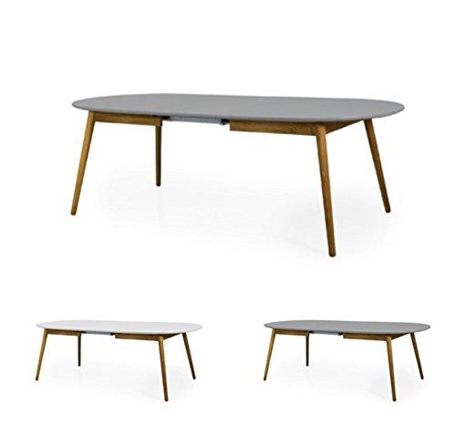 Tenzo Dot 1686-012 Designer Esstisch, Oval, Inklusiv Einer Einlegeplatte, 75 x 180-230 x 105 cm (Hxbxt), Tischplatte : Spanplatte matt. Untergestell Eiche massiv, geölt, Grau/Eiche, Lackiert