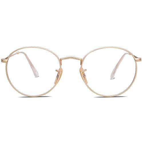 SOJOS Brille Rund mit Blaulichtfiler Herren Damen Blaulicht Brille PC SJ5024 Gold