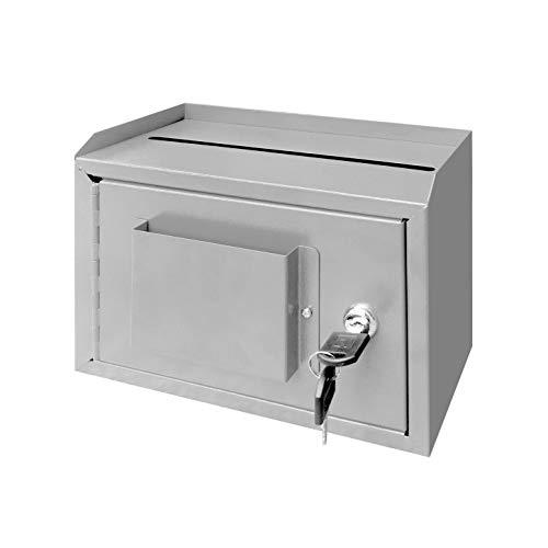 "FixtureDisplays 10 x 7.2 x 3"", Metal Multipurpose, Donation Box,Cash and Mail Box,Suggestion Box 15211 Grey"