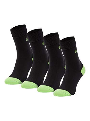 Natural Vibes 4 Paar BIO Socken Schwarz Größe 41/46