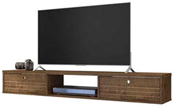 Floating Entertainment Center In Rustic Brown