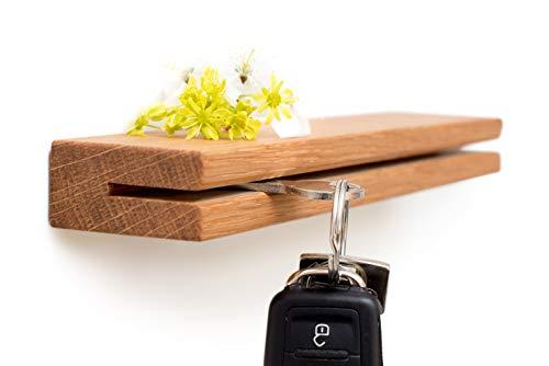 klotzaufklotz Schlüsselbrett Holz, Schlüsselboard aus Eiche, Schlüsselleiste mit Ablage, Schlüsselhalter Wand