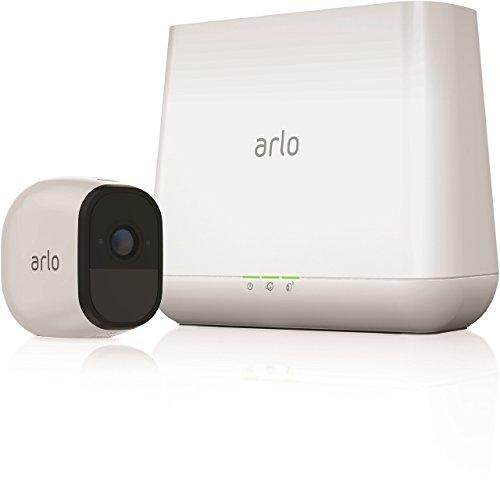 Arlo Pro Überwachungskamera & Alarmanlage, HD, 1er Set, Smart Home, kabellos, Innen/Außen, Nachtsicht, 130 Grad Blickwinkel, WLAN, 2-Wege Audio, wetterfest, Bewegungsmelder, (VMS4130) - Weiß