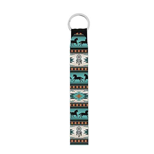 Jeiento Llavero de mano de la muñeca del cordón de la llavero/USB/teléfono móvil Organizador de la llave del caballo azteca de la impresión del llavero