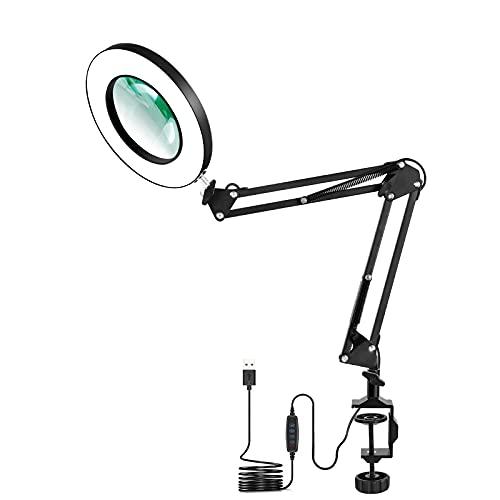 LED-Vergrößerungslampe mit Klemme, NEWACALOX 3-Farben-Beleuchtete Lupenlampen, 5-Dioptrien-Lupenglas-Lichtlinse, verstellbare Schwenkarmlampe für Tischhandwerk oder Werkbank