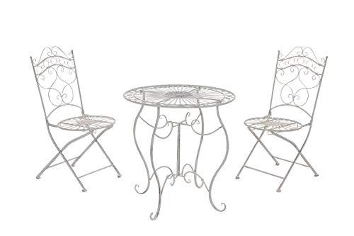 CLP Garten-Sitzgruppe Indra I Zwei Klappstühle Und EIN Tisch I Pflegeleichte Gartenmöbel Aus Eisen Im Jugendstil, Farbe:antik weiß