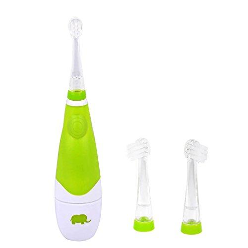 Kinderzahnbürste ab 1 Jahr, Wassierdichte Batteriebetriebene Sonic Schallzahnbürste Geeignet für Baby ab 6 monate, Aufsteckbürsten mit LED Licht und mitkommt 2 Stück Austauschbare BürstenKöpfen - Grün