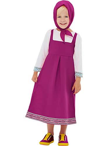 Funidelia | Costume di Masha e Orso Ufficiale per Bambina Taglia 3-4 Anni ▶ Masha And The Bear, Cartoni Animati - Rosa