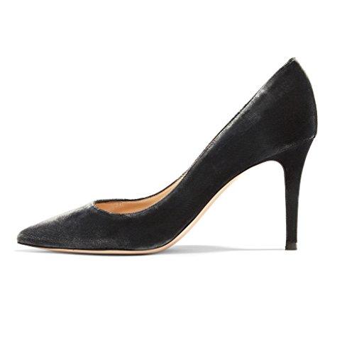 EDEFS Damen Geschlossen Pumps Velvet Stilettos Warm Velour Schuhe Samt Größe EU45