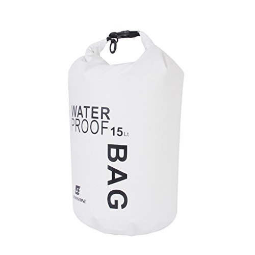 15L Waterproof Dry Bag Pouch for Camping Boating Fishing Rafting (White)