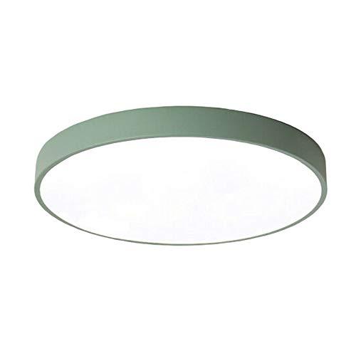 24W Plafoniera a LED, bianco caldo 3500K Guscio Verde rotonda ultra sottile moderna a LED sottile a soffitto per camera da letto, bagno, soggiorno (Verde, 24W)