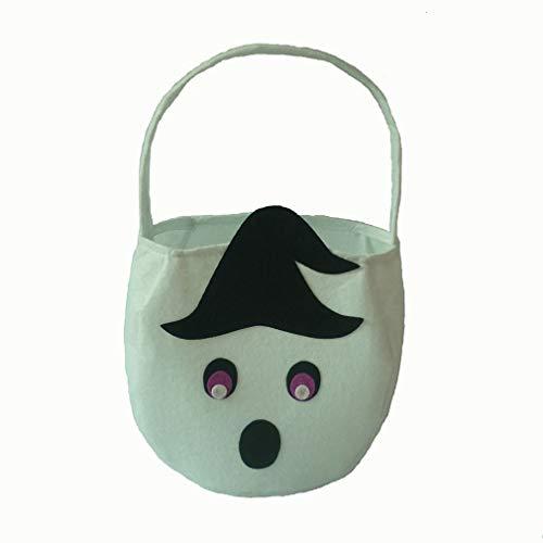 Yinew1 Yinew Halloween-Kürbis-Süßigkeits-Taschen-lustiger Teufel-Gesichts-Entwurf Süßes sonst gibt's Saures-Snack-Korb, weißer Geist