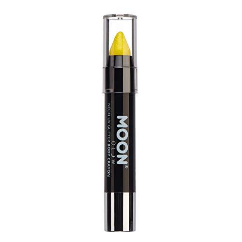 Moon Glow - Bâton Stick de peinture pour visage fluo UV Glitter/Peinture corporelle, maquillage pour le visage et le corps - Jaune